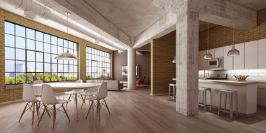A rendering of an apartment at the Fairmont Creamery project shows a view of downtown Cleveland. Once part of a nationwide dairy network linked by railroads, the creamery building is being revived thanks to strong interest in apartments in downtown and nearby neighborhoods.