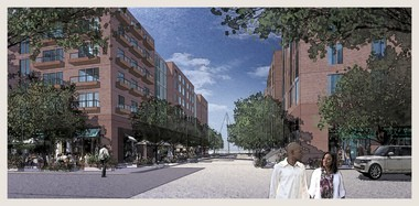 """A conceptual rendering shows apartment buildings that developer Dick Pace and the Trammell Crow Co. imagine on land north of FirstEnergy Stadium. The developers are committed to the use -- housing -- but they caution that the building design and architecture isn't real yet. """"We will end up with a lot of community involvement,"""" Pace said Wednesday."""