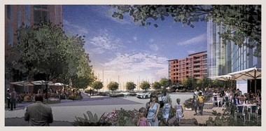 Conceptual renderings and site plans for the project show an open neighborhood, with public access to the water and pockets of greenery. In the coming months, the city will move toward giving developer Dick Pace's Cumberland Development and the Trammell Crow Co. an option to lease the waterfront property at the northern edge of downtown.