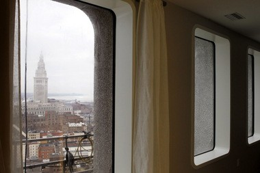 An apartment in The 9 development, underway at the former Ameritrust complex, includes a window view of the Terminal Tower.