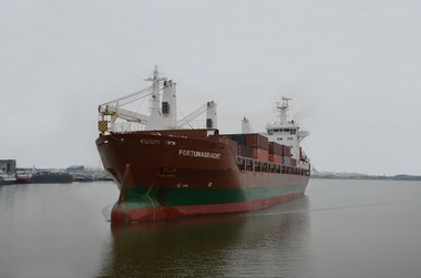 The Fortunagracht, seen outside the Port of Antwerp last week, should sail into Cleveland Harbor Thursday or Friday.