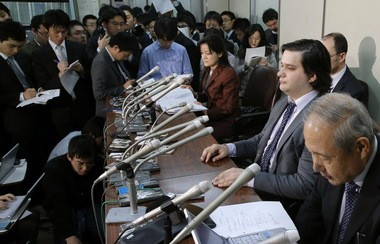 Mt. Gox Chief Executive Mark Karpeles, second from right, at a press conference at the Justice Ministry in Tokyo, after a court rejected its bankruptcy protection application. Mt. Gox, a trading platform and storehouse for the bitcoin virtual currency, went offline in February, after Karpeles said that 850,000 bitcoins worth several hundred million dollars were unaccounted for.