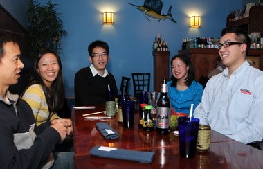 Young professionals new to Cleveland have boosted the supply of knowledge workers. These members of MotivAsians met at Pacific East in Cleveland Heights in 2012. They are, from left, Dr. Roger Lin, Fung-Lin Wu, C.C. Chen, Rachael Ng and Benjamin Shyong.