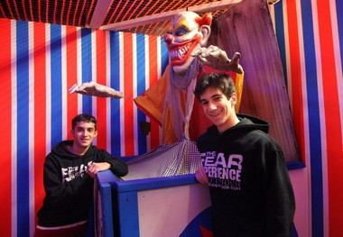 Nick Francis, left, and Max Simon inside Fear Experience, the haunted house they started in a former Value City store in Parma.