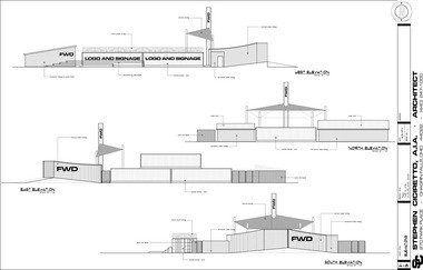 An elevation plan shows potentialside views of the seasonal nightclub planned at the Flats East Bank project.