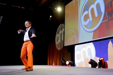 Andrew Davis took the stage dancing in his opening keynote at Content Marketing World.