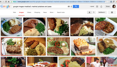 Andrew Davis' Google search for meatloaf, mashed potatoes and peas.