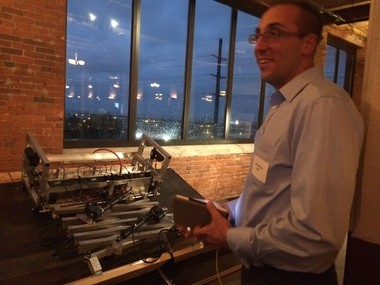 """Michael Baird, owner of RoboNail, a robotic roofing installation machine controlled via mobile app, won a $7,500 second place price and another grand for """"audience favorite"""" at ProtoTech pitch competition"""