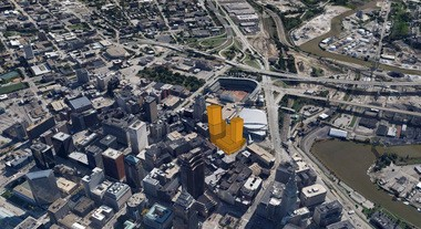 Another massing study shows a different potential view of the nuCLEus project proposed for downtown Cleveland's Gateway District.