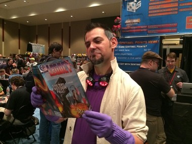 Jeremy Handel grew out his goatee to dress as villain Baron Blade to promote his game at trade shows.