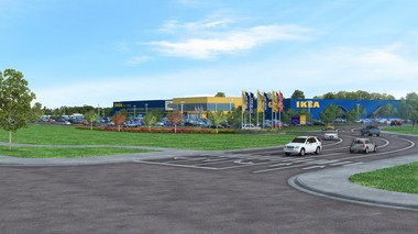 A rendering shows the proposed Ikea store in Columbus, off Interstate 71 and Gemini Place.