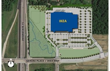 A site plan shows the proposed location for the Columbus Ikea store, which would occupy a 33-acre parcel.