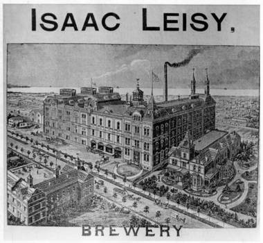 A lithograph shows the Leisy Brewery Co. facility on Vega Avenue in Cleveland, after an 1884 expansion. Very little of the once-sprawling, German-influenced cluster of buildings remains.