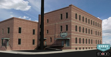 A rendering shows the renovated Leisy Brewing Co. building on Vega Avenue, refashioned as the home of Gypsy Brewing.