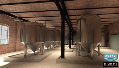 A rendering shows the inside of the Gypsy Brewery after the first phase of renovations.