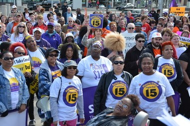 Demonstrators at the Fight for 15 rally Wednesday in front of Cleveland State University. About 300 attended the march and rally. Many of them were home care workers, who are members of to SEIU District 1199.