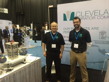 Mike Stratis, left, business development associate, and Jeff Hochedel, fine mesh screening specialist, represented the Cleveland Vibrator Co. at the Ceramics Expo, an international show held at the IX Center last week.