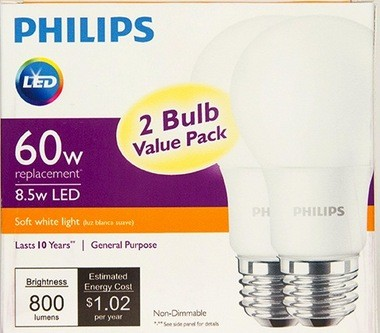 """Some retailers are selling this two-pack of Philips LED household light bulbs for about $5, or $2.50 a bulb. They use only 8.5 watts, about as much as """"night lights"""" used in the past. The downside? They are not dimmable and last only 10 years."""