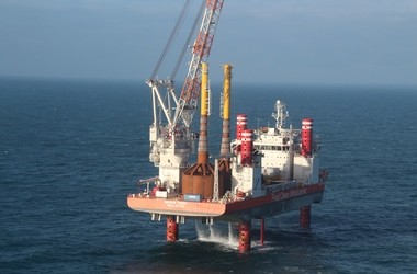 """A Danish company Universal Foundation has invented wind turbine foundations that could be used to secure turbines to the bottom of Lake Erie in a prototype wind farm aiming to prove lake wind turbines will work. Here two of the company's """"mono bucket foundations"""" are about to be installed in the North Sea off the coast of the United Kingdom."""