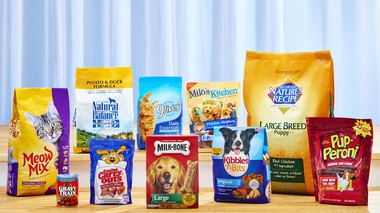 Big Heart Pet Brands, acquired by J.M. Smucker in March, includes: Meow Mix, Milk-Bone, Kibbles 'n Bits, 9Lives, Natural Balance Pet Foods, Pup-Peroni, Gravy Train, Nature's Recipe, Canine Carry Outs, Snausages, Meaty Bone, Pounce, Jerky Treats, Alley Cat, and Milo's Kitchen.