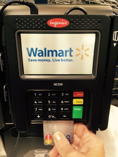 With chip payment terminals, the card is inserted in the bottom, rather than swiped.