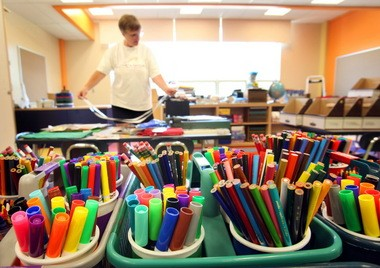 New markers and colored pencils await pupils in kindergarten teacher Pam Wurm's classroom at Grindstone Elementary School in Berea in this Plain Dealer file photo.