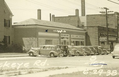A photograph dated 1938 shows the Buckeye Road commercial building that will become part of the Edwins campus. The building has been empty for years and, like many around it, went through foreclosure. An Edwins nonprofit recently acquired the property for $5,000.