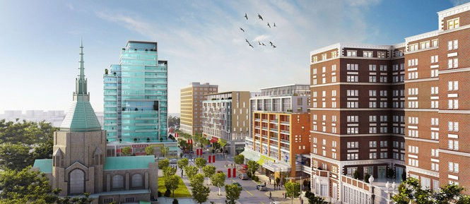 A conceptual rendering shows the general idea of the University Circle City Center project, which would flank Stokes Boulevard south of Chester Avenue in Cleveland.