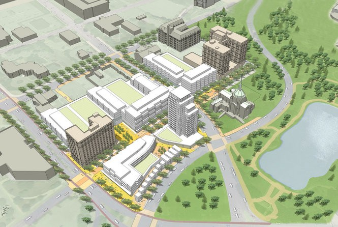 An early massing study shows the potential location and size of buildings at the University Circle City Center project, as viewed from the southeast. This preliminary image does not depict the single-story library building planned on Euclid Avenue, between the American Cancer Society and Fenway Manor.