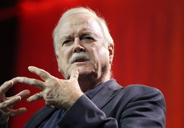 "John Cleese, the British comedic actor best known for ""Monty Python's Flying Circus"", addresses participants during the fifth annual Content Marketing World conference at the Cleveland Convention Center."