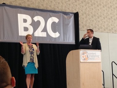 Lisa Bialecki, left, Rust-Oleum's senior director of integrated communications, and Ryan Derrow, vice president of online media and digital strategy at Empower, share the story of Rust-Oleum's rebranding at Content Marketing World on Sept. 9, 2015.