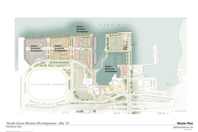 A site plan shows the full scope of the downtown Cleveland lakefront project planned by Cumberland Development of Cleveland and the Trammell Crow Co. of Dallas.