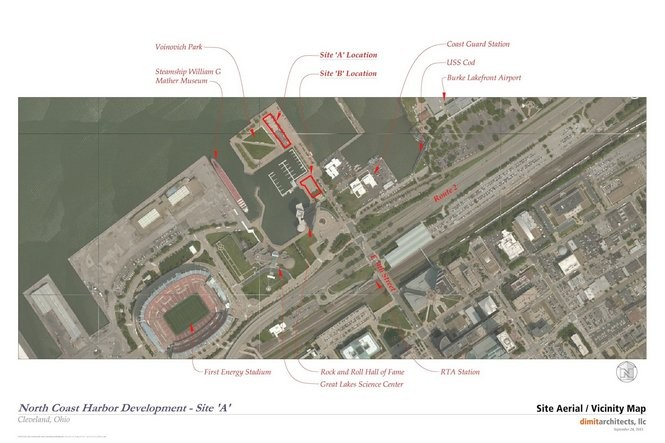 An aerial plan shows the restaurant site (Site A) and the location of the planned mixed-use building (Site B) at North Coast Harbor.