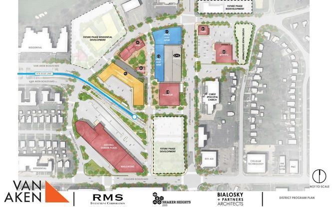 An updated site plan shows the vision for the Van Aken District, an 11-acre area being repositioned as a new downtown for Shaker Heights.