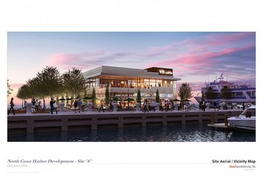 A rendering shows the planned restaurant, near the northern end of the East Ninth Street Pier in downtown Cleveland.