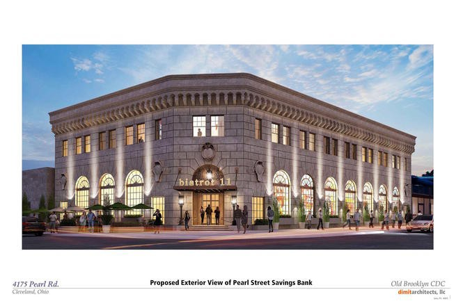 A rendering shows the historic Pearl Street Savings & Trust Co. building in Cleveland's Old Brooklyn neighborhood, reimagined after renovations.