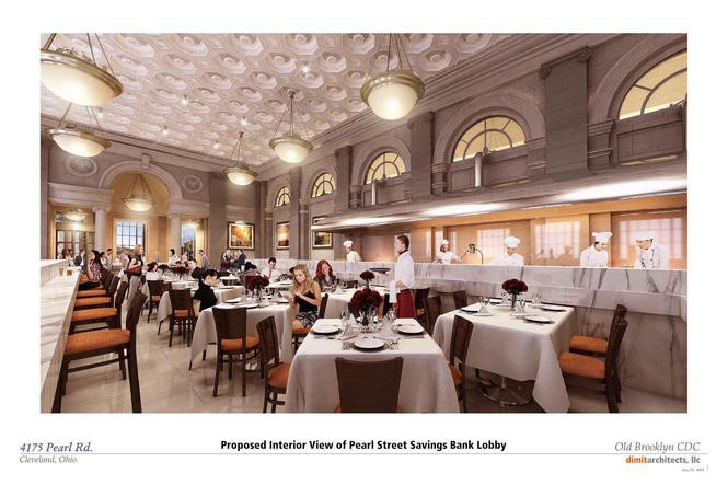 A rendering shows the former bank lobby at the Pearl Street Savings & Loan Co. building, refashioned as a restaurant.