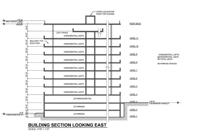 A cross-section shows the possible layout of an apartment building proposed along the Superior Viaduct, in the Flats.