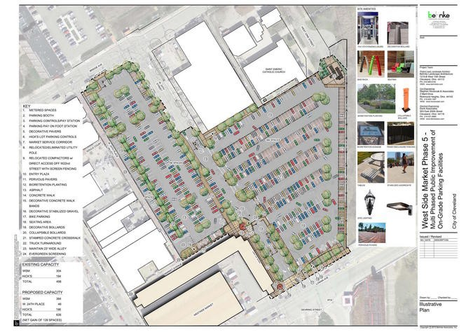A conceptual plan shows the reconfigured and combined parking lots behind the West Side Market. The project, scheduled to start soon, includes permeable pavers and other green infrastructure. The U.S. EPA gave Cleveland a $500,000 grant for the project, and the Northeast Ohio Regional Sewer District followed up with a matching grant. The estimated budget for the job is $3.3 million.