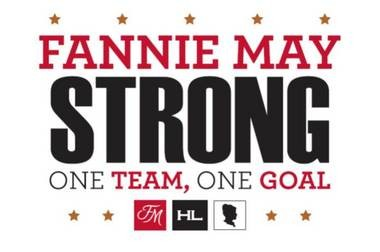 """This """"Fannie May Strong"""" banner was rescued from the 2014 fire and now hangs in the newwarehouse as a reminder of how the employees pulled together afterthe disaster."""