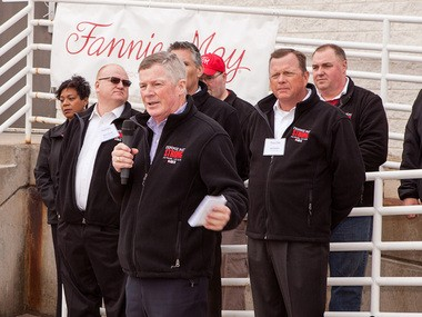 Kevin Coen, president of Fannie May Brands, thanked the firefighters and police officers who left their families to respond to the Fannie May warehouse fire on Thanksgiving Day 2014.