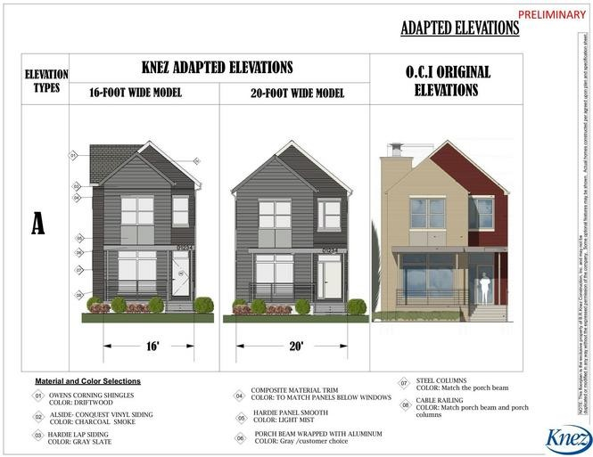 A rendering shows one of three possible facades for homes being designed through a partnership between nonprofit Ohio City, Inc., and builder Bo Knez.