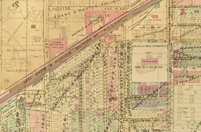 A map from the early 1920s shows a machine shop on the current site of the Glenville enterprise center, on East 105th Street.