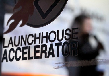 A company makes their pitch during the LaunchHouse XPO at the LaunchHouse Accelerator in Shaker Heights in this photo taken in February.
