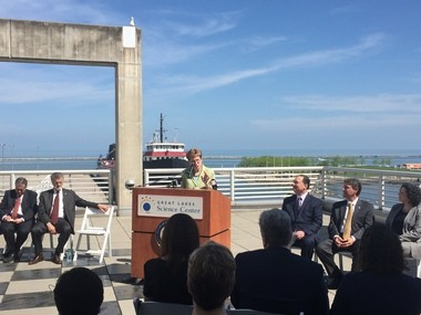 U.S. Rep.Marcy Kaptur said the Cleveland-based project to build a pilot wind farm eight to 10 miles offshore in Lake Erie could be the beginning of a wind corridor running from Buffalo to Erie to Toledo and extending points west and east. Kaptur announced that the U.S. Department of Energy is awarding $40 million to the Lake Erie Energy Development Corp. to build the first-ever fresh-water wind farm in the Lake.