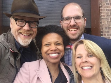 Sonya Pryor-Jones, with Adam Savage of MythBusters, left, Andrew Coy, senior advisor in the White House Office of Science and Technology Policy, and Lisa Camp, Associate Dean, Strategic Initiatives, Case School of Engineering.