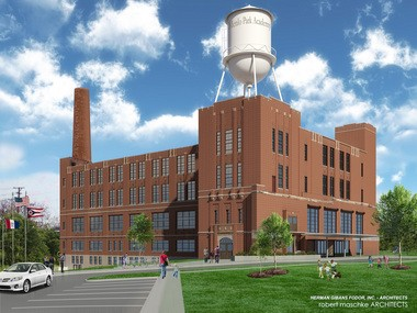 A rendering shows the Joseph & Feiss Co. garment factory, restored as the new home of Menlo Park Academy.
