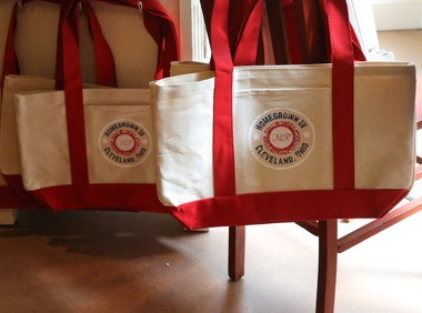 Tote bags for sale at Monica Potter Home in the historic Arcade.