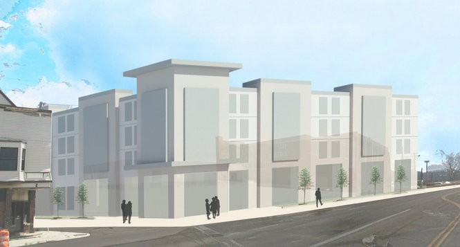 An early, conceptual image shows an apartment building planned for the site of the former Brooklyn YMCA, which is slated for demolition. The 66-unit building would house chronically homeless residents, through a partnership between Cleveland Housing Network and EDEN, Inc. The developers plan to seek design input at community meetings before seeking approvals from various city commissions.