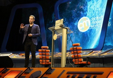 Lars Silberbauer, addressing the Content Marketing World 2016 conference in Cleveland on Wednesday, Sept. 7, 2016,oversees LEGO Group's global social media, online videos, and search strategy.